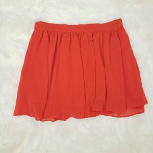 Forever 21 Polyester Lined Pleated Flowy Skirt Red